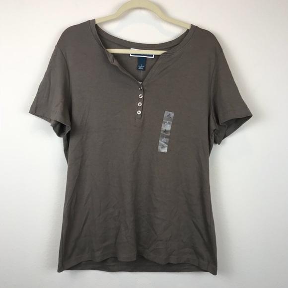 d16fc12501aec NWT Karen Scott Henley T-Shirt Brown M  BK10